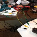 The jerry-rigged wiring to test out the GPS on the bench.